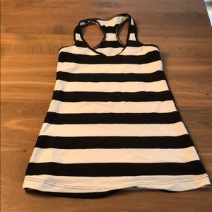Lulu cool racer back tank black and white stripes